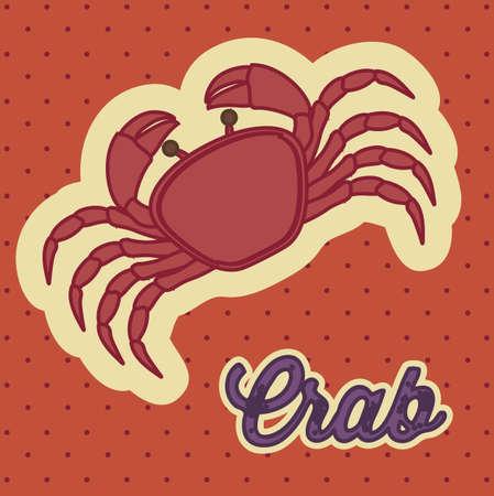 illustration of vintage style crab, seafood, shellfish Vector