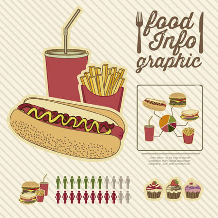 food research: Illustration of food infographics, with food icons