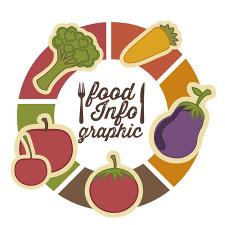 Illustration of food infographics, with food icons, Vector