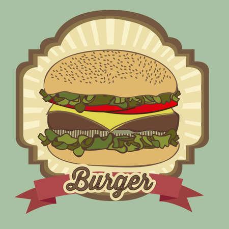 gourmet burger: illustration of a vintage burger,fast food