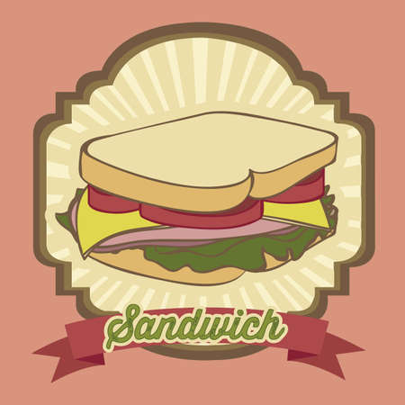 leaf lettuce: illustration of a vintage sandwich, fast food