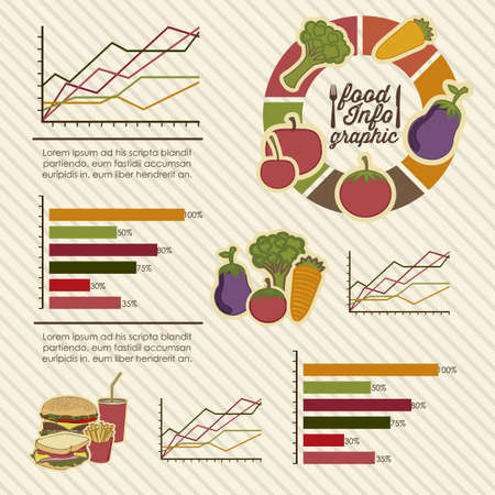 Illustration of food infographics, with food icons Vector