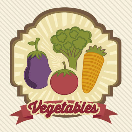 illustration of vintage style vegetables and fruits Vector Illustration