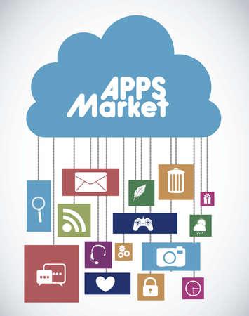 photo hardware: Illustration of icons of tablet apps, apps market Illustration