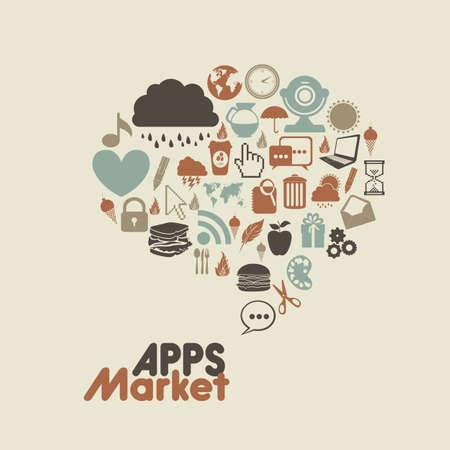 Illustration of icons of tablet apps, apps market Illustration