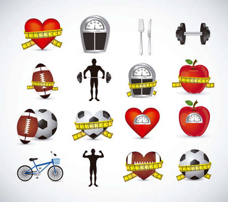losses: Illustration of Fitness Icons, sports and exercise, caring figure and health, vector illustration