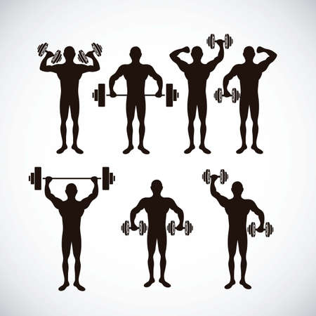 Illustration of Fitness Icons, sports and exercise, caring figure and health, vector illustration Stock Vector - 17786759