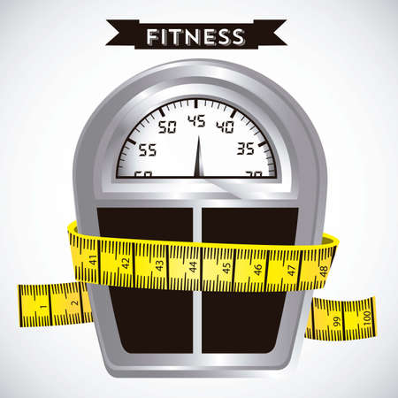 kilograms: Illustration of Fitness Icons, sports and exercise, caring figure and health, vector illustration