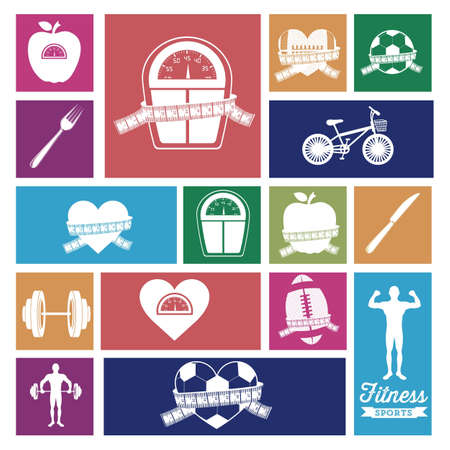 diet weight loss: Illustration of Fitness Icons, sports and exercise, caring figure and health, vector illustration