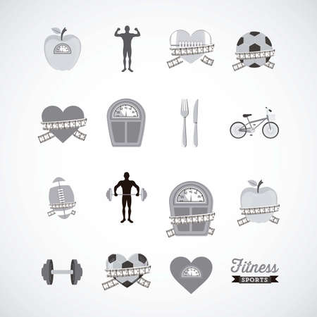 Illustration of Fitness Icons, sports and exercise, caring figure and health, vector illustration Stock Vector - 17787207