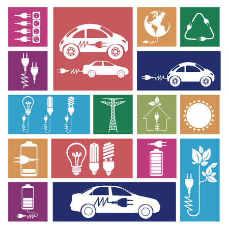 plugger: Illustration of energy icons, electricity and electric current, vector illustration