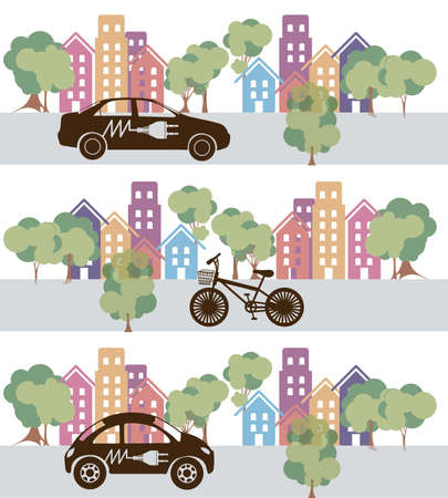 Illustration of city buildings silhouettes and colors, vector illustration Stock Vector - 17787111