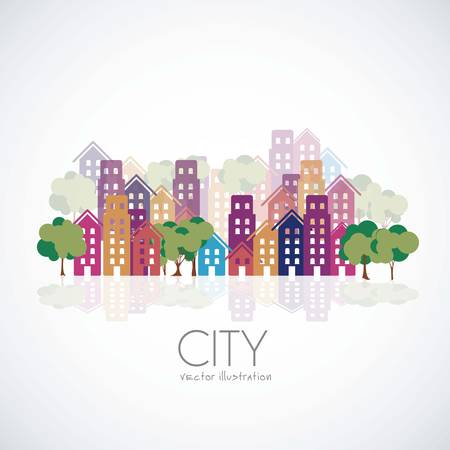 Illustration of city buildings silhouettes and colors, vector illustration Illustration