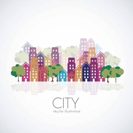 edificios: Ilustraci�n de los edificios de la ciudad siluetas y colores, ilustraci�n vectorial Vectores