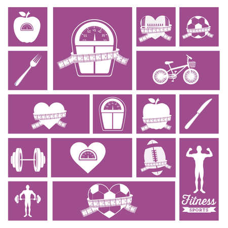 Illustration of Fitness Icons, sports and exercise, caring figure and health, vector illustration Stock Vector - 17787203