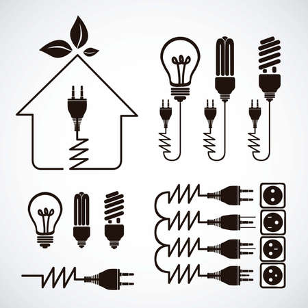 energy conservation: Illustration of energy icons, electricity and electric current, vector illustration