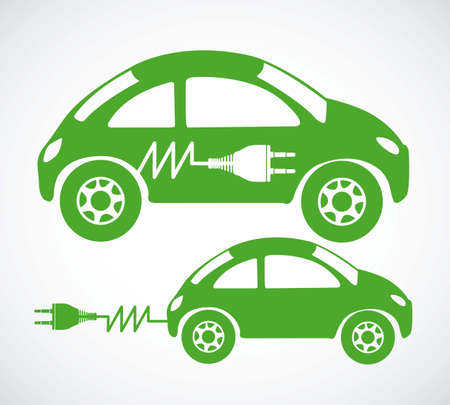 car battery: Illustration of energy icons, electricity and electric current, vector illustration