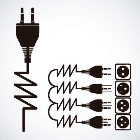 Ilustración de los iconos de energía eléctrica, la electricidad y la ilustración actual, vector