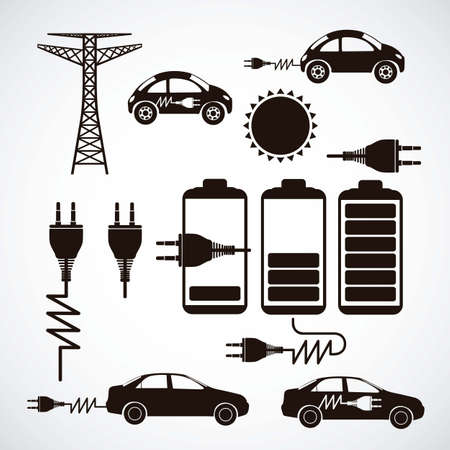Illustration of energy icons, electricity and electric current, vector illustration Vector
