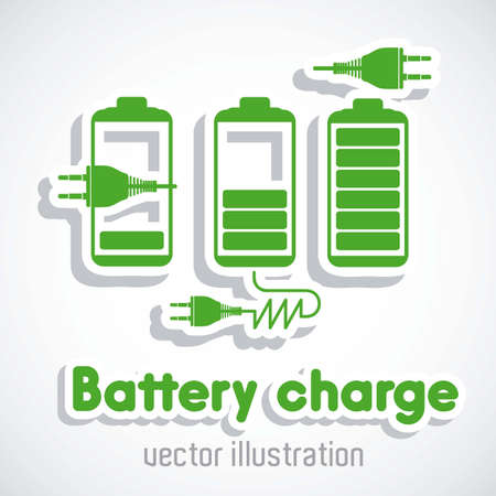 current: Illustration of energy icons, electricity and electric current, vector illustration