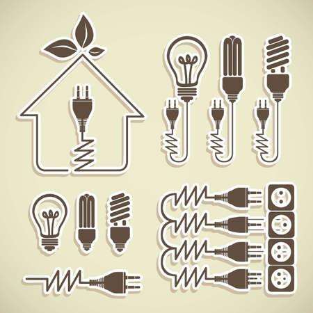 Illustratie van energie iconen, elektriciteit en elektrische stroom, vectorillustratie Vector Illustratie