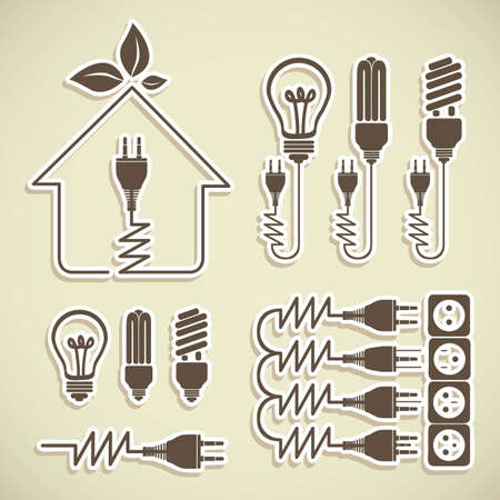Illustration of energy icons, electricity and electric current, vector illustration
