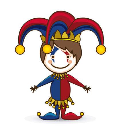 Illustration of a joker, April Fools Day, jester illustration,  vector illustration