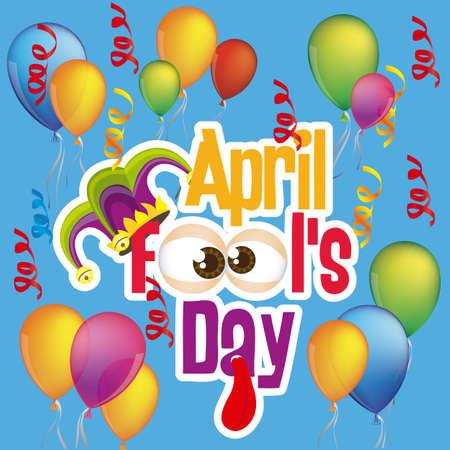harlekijn: Illustratie van April Fools Day. Jester pictogrammen. vector illustratie