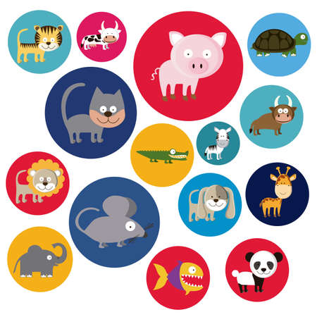 Illustration of Cute Animals. Farm Animals Icons. vector illustration Stock Vector - 17888778
