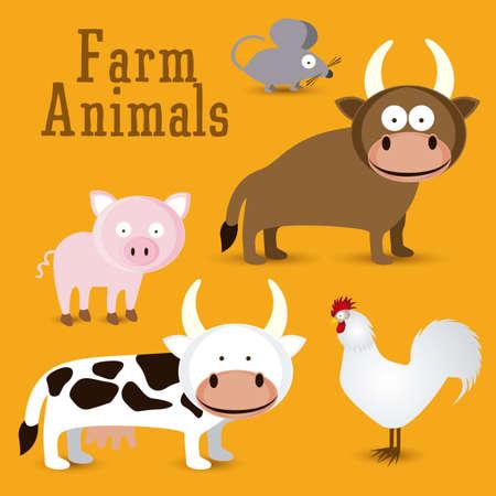 Illustration of Cute Animals. Farm Animals Icons. vector illustration Stock Vector - 17888745