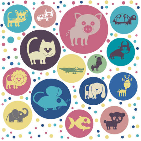 Illustration of Cute Animals. Farm Animals Icons. vector illustration Vector