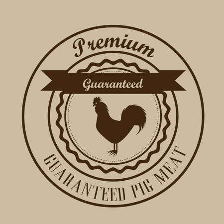 Illustration of Farm Label. Farm Animals Icons. vector illustration Vector