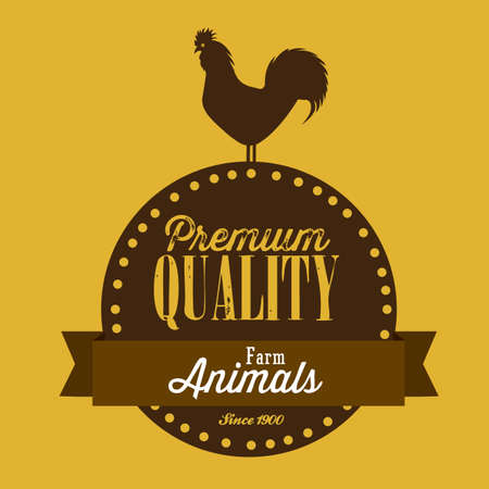 Illustration of Farm Label. Farm Animals Icons. vector illustration Vector