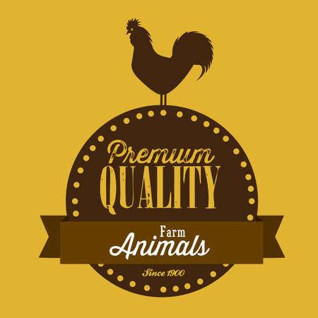 turkey cock: Illustration of Farm Label. Farm Animals Icons. vector illustration Illustration