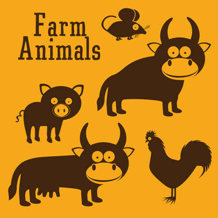 Illustration of Cute Animals. Farm Animals Icons. vector illustration Stock Vector - 17888710