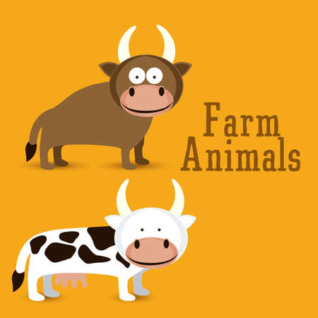 Illustration of Cute Animals. Farm Animals Icons. vector illustration Stock Vector - 17887914