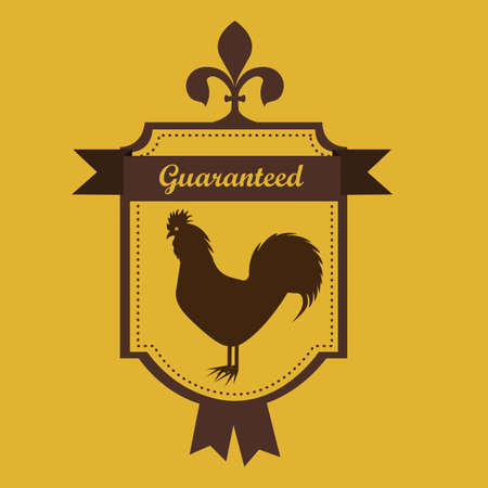 cock: Illustration of Farm Label. Farm Animals Icons. vector illustration Illustration