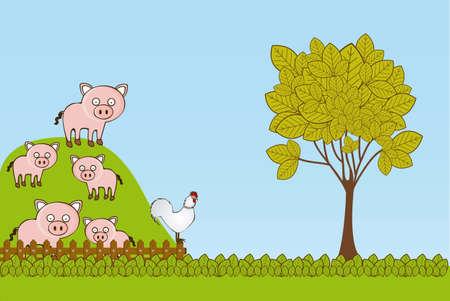 Illustration of Cute Animals. Farm Animals Icons. vector illustration Stock Vector - 17888940