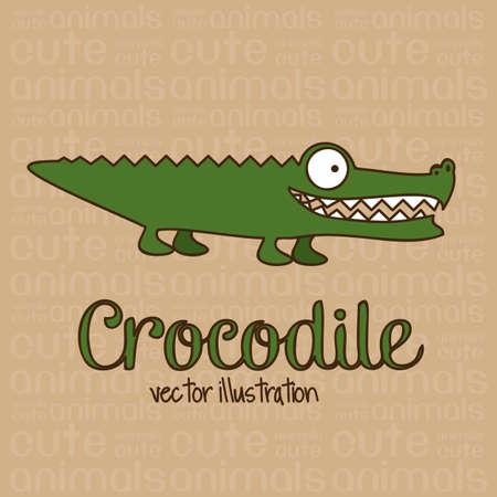 crocodile: Illustration of Cute Animals. crocodile illustration. vector illustration Illustration