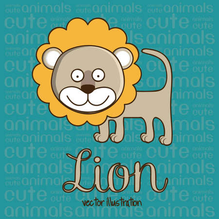 Illustration of Cute Animals. Lion illustration. vector illustration Vector