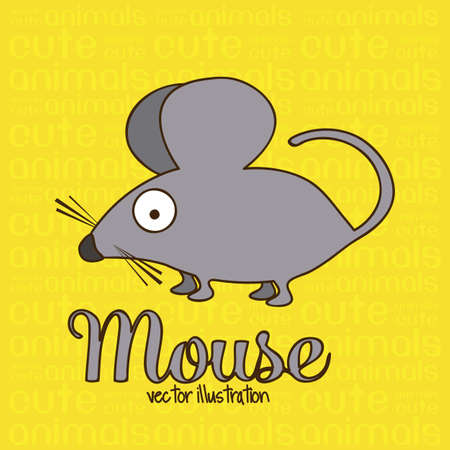 Illustration of Cute Animals. Mouse illustration. vector illustration Vector