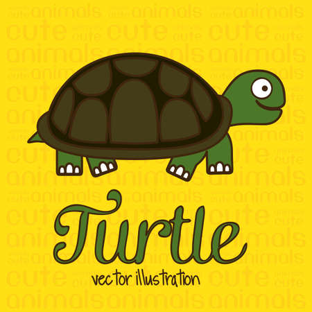 Illustration of Cute Animals. Turtle illustration. vector illustration Vector