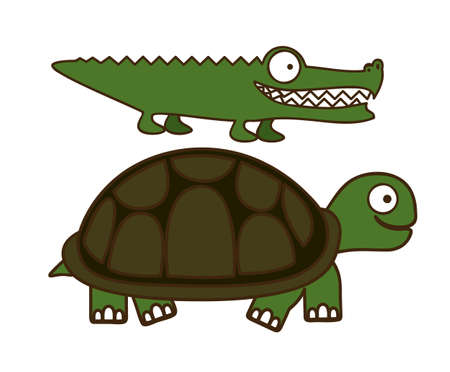 Illustration of Cute Animals. crocodile and Turtle  illustration. vector illustration Vector