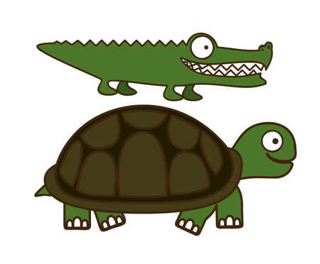 crocodile skin: Illustration of Cute Animals. crocodile and Turtle  illustration. vector illustration