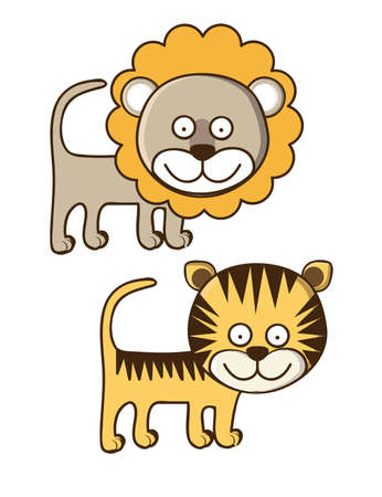 Illustration of Cute Animals. Lion and Tiger illustration. vector illustration Stock Vector - 17887882