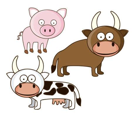 Illustration of Cute Animals. Farm Animals icons. vector illustration Stock Vector - 17887902