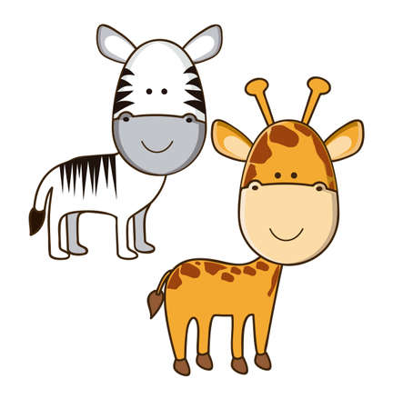 Illustration of Cute Animals. Giraffe and Zebra  illustration. vector illustration Vector
