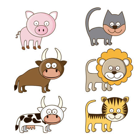 Illustration of Cute Animals.Farm animals icons. vector illustration Stock Vector - 17888763