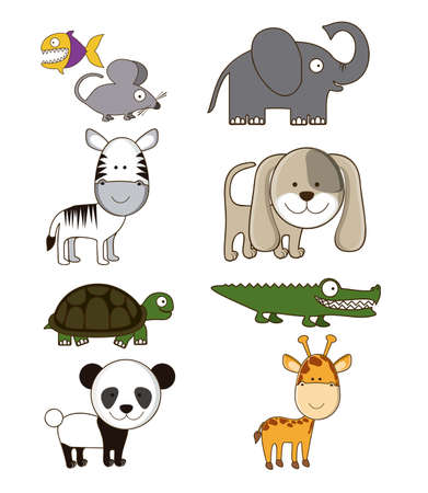 Illustration of Cute Animals. wildlife and farm animals  icons. vector illustration Stock Vector - 17888775