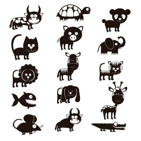 fish farm: Illustration of Cute Animals. wildlife and farm animals  icons. vector illustration